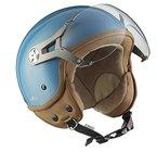 SOXON SP-325-MONO Crystal Blue Roller-Helm Pilot Biker Cruiser Vintage Chopper Retro Jet-Helm Helmet Bobber Vespa-Helm Scooter-Helm Mofa Motorrad-Helm, ECE zertifiziert, inkl. Sonnenvisier, inkl. Stofftragetasche, Blau, S (55-56cm)