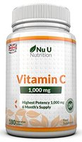 Vitamin C 1000mg 180 Tabletten (6 Monatsversorgung) von Nu U Nutrition