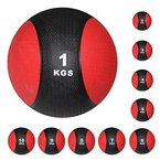 Medizinball Gewichtsball von POWRX 1 - 10 kg | Schwarz / Rot (3 kg)