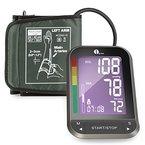 1byone Oberarm-Blutdruckmessgerät mit leicht lesbarem LCD Screen mit Hintergrundbeleuchtung, Universal-Manschette aus Nylon und Aufbewahrungstasche, Schwarz