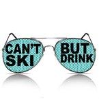 beklebte Sonnenbrille mit Motiv Ischgl Sölden Partybrille bedruckte Pilotenbrille Can´t ski but drink mygafas (PILOT)