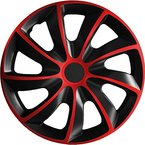(Farbe und Größe wählbar) 15 Zoll Radkappen QUAD Bicolor (Schwarz-Rot) passend für fast alle Fahrzeugtypen - universal