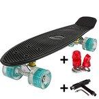 FunTomia® Mini-Board 57cm Skateboard mit oder ohne LED Leuchtrollen inkl. Aluminium Truck und Mach1 Kugellager in verschiedenen Farben zur Auswahl (Deck in schwarz / Rollen in petrol mit LED+T-Tool)