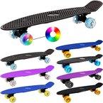Retro Skateboard Schwarz Rollen 30x50 geriffelte Trittfläche