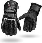 Schwarz Winter Wasserfest Leder Handschuhe 4 Motorrad Knuckle Schutz - Schwarz, M