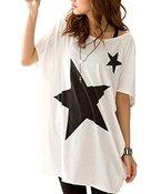 Yidarton Damen Casual Loose Rundhal Batwing Freizeit Kurzarm T-Shirt Bluse (Weiss)