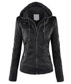 Minetom Damen Herbst Vintage Übergangs Jacke Winter Kunstlederjacke Kapuzenmäntel Zipper Slim Fit Coat Schwarz DE 38