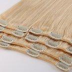 100% Remy-Echthaar Clip-In-Extensions für komplette Haarverlängerung 80g-33cm (#613 Hellblond)