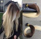 Sunny 50 Gramm Ombre Echthaar Strahnen mit Keratin Bondings Extensions Dunkelbraun zu Blond 100% Remy Glatt U tip Haarverlangerung 18zoll/45cm
