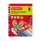 Herlitz 8648008 Wachsmalstifte 10 Stück, unterschiedliche Farben mit Gummigriffzone