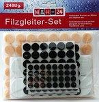 248er Set Filzgleiter selbstklebend, Möbelgleiter Stuhlgleiter Bodengleiter Bodenschutz Kratzschutz, Rund, Filz