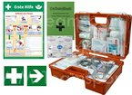 "Erste-Hilfe-Koffer Quick -Komplettpaket- mit ""Notfallbeatmungshilfe"" für Betriebe DIN/EN 13157 + DIN 13164 - inkl. 1. Hilfe Aufkleber & Aushang"