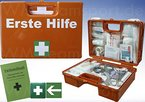 Erste-Hilfe-Koffer (mit Füllung DIN 13157) - incl. Verbandbuch & Wandhalterung für Betriebe + Folien-Aufkleber 1.Hilfe-Kennzeichnung