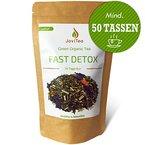 JoviTea® FAST DETOX Tee unterstützend bei der Entgiftungskur 14 Tage - 100g regt den Stoffwechsel und die Fettverbrennung an. 100% Natürlich und ohne Zusatz von Zucker. Der Entgiftungstee ist auch als Fitness Tee bei Sportlern beliebt. Hilft beim Entgiften, Abnehmen und Entschlacken. Leckere Kräuter- und Fruchtmischung zum warmen oder auch kalten Teegenuss - Grüner Tee China Sencha, Grüner Tee Matcha, Lemongras, Mate grün, Orangenschalen, Weißer Tee Mao Feng, Aroniabeere, etc.