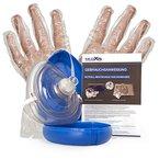 Medx5 CPR Erste Hilfe Maske Notfallbeatmungsmaske Notfallmaske Beatmungsmaske Beatmungsbeutel Taschenmaske Pocketmaske mit Zubehör und Ersthelfer-Anleitung