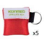 IntiPal 1/2/5/10 Stücke Beatmungsmaske Schlüsselanhänger Beatmungshilfe Notfalltuch Taschenmaske Erste Hilfe 5 Farben (5, Red)