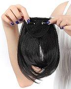 """Ein Tresse Pony Clip in Haarverlaengerung Glatt 8""""(20cm) Dunkelschwarz Haarverlaengerungen Straight Dark Black Bang Fringe"""