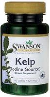 Swanson - Kelp (Jod / Iodine 225mcg) 250 Tabletten - Natürliche Jod-Quelle von Atlantic Kelp (Ascophyllum Nodosum) - Standardisiert 0,4% Jod - Braun-algen aus VARECH Familie - Bio-Aktiv Nahrungsergänzung für Schilddrüse (Atlantic Sea Kelp tablets - Natural Iodine Source Supplement - Nahrungsergänzungsmittel)