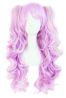 MapofBeauty farbige Lolita lange lockige geheftet auf Pferdeschwanz Cosplay Perücke (rosa/ blau/ blond)