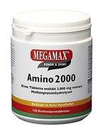 Megamax Amino 2.000 Aminosäuretabletten, reines Molkenprotein-Hydrolysat. Für Muskelaufbau und Diät. Inhalt: 150 Tabletten (300 g).