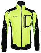 iCreat Herren Jacke Air Jacket Winddichte Lauf- Fahrradjacke MTB Mountainbike Jacket Visible reflektierend, Fleece Warm Jacket für Herbst, Grün Gr.M
