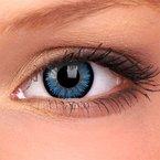 2 Stück Aqua Kontaktlinsen hellblaue Jahreslinsen + 1 Gratis Behälter Kontaktlinsen für braune Augen farbige Kontaktlinsen auch für Halloween und Karneval Jahreslinsen