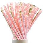 SUMERSHA Einweg Trinkhalme Biologisch Abbaubare Papier Straw für Geburtstag, Hochzeit, Baby-Dusche, Feiern und Party 100 Stück