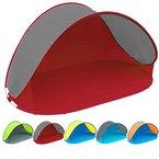 Pop Up Strandmuschel mit Boden UV-Schutz 40 oder 60 - 220 x 120 x 100 - cm in verschiedenen Farben (Rot / Grau UV60)