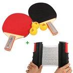 Tera® 2x Schläger Tischtennisschläger Tischtennis-Set mit 3 Tischtennisbälle + Tischtennisnetz Ersatznetz Tennisnetz Ping Pong Netz