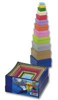 Folia 3109 - Geschenkboxen aus Karton Eckig, farbig, 12 Stück in verschiedenen Größen und Farben