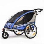 Qeridoo Q6000A-Blau Sportrex 2 Kinder-Fahrradanhänger (2 Sitzer) - blau