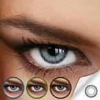 Farbige Jahres-Kontaktlinsen DIAMOND Light Gray - MIT und OHNE Stärke in BLAU - von LUXDELUX® - mit Stärke (-4.75 DPT in Minus)
