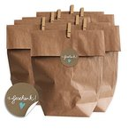 Geschenktüten Set - Geschenk - mit blauem Herz, SET für Plätzchen, Kekse und Geschenke mit 24 Tüten, Miniklammern und Geschenk-Aufklebern, MATTE Papieraufkleber