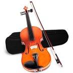 Jago 4/4 Violine Geige für Anfänger inkl. Koffer, Bogen, Brücke und Kolophonium in drei verschiedenen Farben