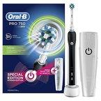 Oral-B Pro 750 Elektrische Zahnbürste, mit CrossAction Aufsteckbürste und Reise-Etui, schwarz