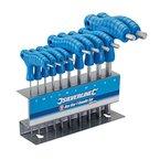Silverline 323710 Innensechskant-Stiftschlüssel mit Quergriffen, 10-tlg. Satz 2-10 mm