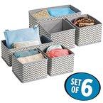 mDesign Stoffbox für Schrank oder Schublade, 6er Set - die ideale Aufbewahrungsbox (Stoff) - flexibel verwendbare Stoffkiste