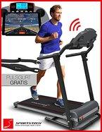 Sportstech F10 Laufband mit Smartphone App Steuerung, Pulsgurt im Wert von 39,90 € inklusive, Bluetooth, 1PS, 10 KM/H, für Geh- und Lauftraining mit 13 Programmen - kompakt klappbar verstaubar