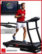 Sportstech F26 Profi Laufband mit Smartphone App Steuerung Pulsgurt im Wert von 39,90 € inklusive - MP3 AUX Bluetooth 4 PS 16 km/h HRC Training - kompakt klappbar verstaubar