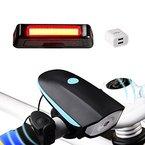 Akale Wiederaufladbare LED Fahrradlicht, LED Frontlicht und Rücklicht Für Radfahren, 550lm , 3 Licht-Modi, Fahrradhorn, Fahrradlampe, Fahrradbeleuchtung Set (2 USB-Kabel &1 Ladegerät)