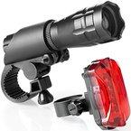 Fahrradlicht Set ,Profer LED Fahrradlampe Taschenlampe Beleuchtung Lampen Scheinwerfer Vorder und Rücklicht inkl Halterung fürs Fahrrad Camp (Schwarz)