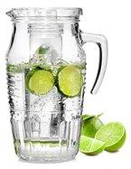 Bormioli Glaskaraffe 'Romantica' mit Eiseinsatz | Füllmenge Karaffe 1,8 Liter | Hält Getränke kühl ohne zu verwässern | Glasprägung im schönen Vintage Design