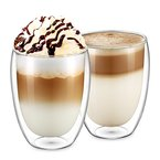 Ecooe 2-teiliges 350ml Doppelwandige Latte Macchiato Glaser Set Thermoglas Kaffeeglas