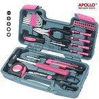 Apollo Präzisions-Werkzeuge 39-teiliges DIY Haushalts-Werkzeugset in Pink mit Kombizange in Box - Großartiges Geschenk