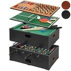 Jago Spieltisch/Tischfussball Billard, Tischtennis, Backgammon und Schach - 5in1 - in Schwarz / in Buche (Schwarz)