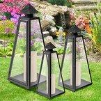 3er Set Laterne Windlicht Gartenlaterne Gartenlampe Gartenleuchte Metalllaterne Metallgestell mit Glasfenster