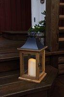 SALE - Romantisch dekorative XL - LED Laterne mit Tür - aus HOLZ, GLAS und METALL - sehr edel - Größe : 35 cm x 18 cm - in braun / schwarz - mit LED - Kerze flackernd - mit Timer - für Innen und Außen - Bereich - NEU - Outdoor