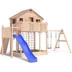 Spielturm Baumhaus Stelzenhaus Spielhaus Sandkasten + Rutsche + Schaukeln 2,0m Podesthöhe (einfacher Schaukelanbau)