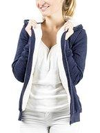 Casual Standard Damen Hoodie Kapuzenpullover Sweatjacke Fleecejacke Übergangsjacke Kapuzenjacke Zip Pullover Kapuze Kapuzenpulli Hoody gefüttert warm (blau / L)