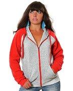 Damen Hoodie Kapuzen-Pullover Sweat-Jacke No 13002, Farbe:Grau-Rot;Größe:M